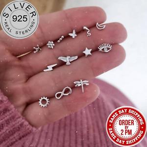 Trendy 925 Sterling Silver Stud Earrings Crystal Drop/Dangle Silver Hoop Huggie