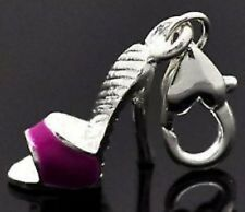 LOVELY FUSCHIA & SILVER HIGH HEEL BACKLESS SHOE CLIP ON CHARM  - SILVER PLATE