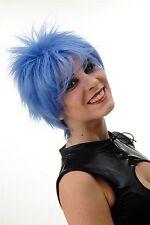 Peluca de Mujer Corto Cardado Salvajes Mechas 80er Wave Punk Azul