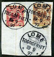 Togo V 50d, Mi 3a   Leinenbriefstück  Lome  Mischfrankatur   gepr.    394,-