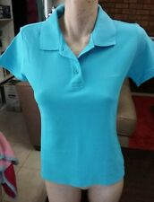 REEBOK Ladies Blue Short Sleeve Polo Sports Shirt Size S