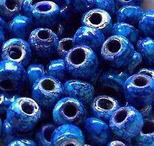 Crow Roller Beads * Blue Marbled Pony Beads 9mm * Tie Dye Picasso