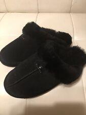 BEARPAW Loki Suede Sheepskin Scuff Slippers Size 11. Black