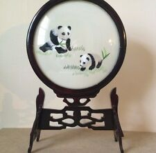 2-Sided SILK EMBROIDERY CHINESE TABLETOP SCREEN w/Carved Wood Stand PANDA BEARS