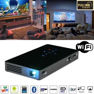 DLP 4K Mini Projector 1080P HD Wifi Smart Bluetooth Home LED Theater Cinema cici