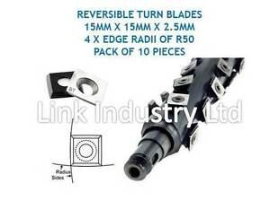 10 pces. 15 x 15 x 2.5mm, 4 x R50 EDGE RADII, CARBIDE REVERSIBLE TURN BLADES