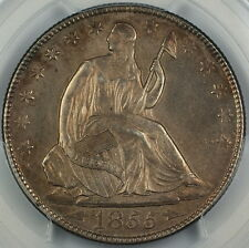 1855-O Seated Liberty Silver Half Dollar, PCGS UNC Details Quest. Color, Choice