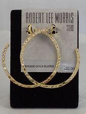 Robert Lee Morris SOHO Hammered Gold Plated Pave' Hoop Earrings RS01220-E01 $35