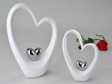 Modern Sculpture in the Shape of a Heart White/Silver Height 25 cm