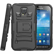 BLACK AMZER RUGGED HYBRID CASE BOX w/STAND FOR SAMSUNG GALAXY S5 ACTIVE SM-G870A