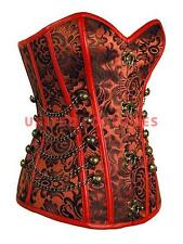 Red Flower Embroidered Steel Boned Steampunk Over Bust Corset