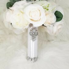 Bling and Satin Crystal Bouquet Holder Rhinestones Wedding Bouquet Holder 6""