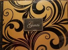 Guest Book Gold w/ Black swirl wedding funeral party by Christian Art Gifts New
