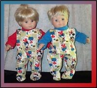 """Doll Clothes BabyMade 2 Fit American Girl 15"""" Boy Twins Pajamas Mickey Mouse Pow"""