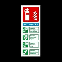 Fire Extinguisher ABC Powder ID Card Plastic Sign OR Sticker 200x75mm (FE30)