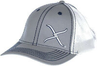 Twisted X Mens Adjustable Snapback Mesh Cap Hat (Grey/White, One Size)