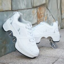 New listing White Sneakers Shoes with Wheels - Roller Kicks - Roller blade skates