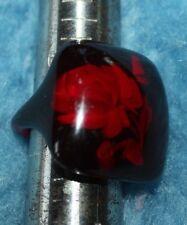 VTG RARE BAKELITE Cherry Amber  Flower Reverse Carved  RING size 7