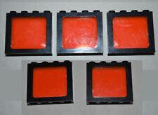 5 LEGO lot Windows Black Frame Trans Neon Orange Pane City Space 1x4 ADFW&AHDO