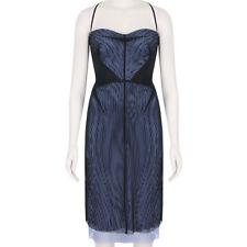 Marios Schwab Black Lavender Blue Layered Power Mesh Dress US2 UK6