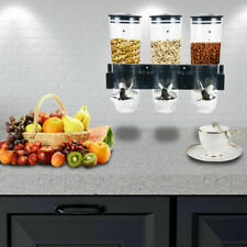 Dry Food Dispenser Triple Wall Mount Cereal Container Kitchen Storage Machine