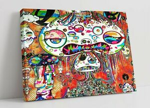 MURAKAMI 1 CANVAS WALL ART FLOAT EFFECT/FRAME/PICTURE/POSTER PRINT- RAINBOW