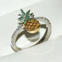 Creative Pineapple Fruit Topaz Ring 925 Silver Gold Women Wedding Party Jewelry