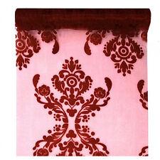 """Tischläufer /""""Ornament Rot/"""" 36 cm x 9 m Tischband Tischdeko Dekostoff Hochzeit"""