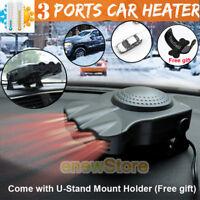 Upgrade 3Port 2in1 12V Portable Car Heater Cooling Fan Heater Defroster Demister