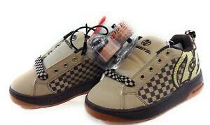 Boys Kids Youth Heelys Grid 7271 Tan Brown Gum Skate Roller Sneakers Shoes