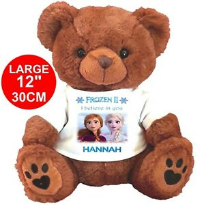 """PERSONALISED BROWN TEDDY BEAR 30cm/12"""" FROZEN ELSA ANNA  CHRISTMAS GIFTS"""