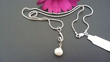 GENUINE SOLID 925 STERLING SILVER NECKLACE WITH PEARL MADE IN ITALY