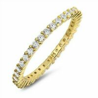 Ring Sterling Silver 925 Yellow Gold Plated Clear CZ Band Width 2 mm Size 10
