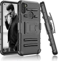 For Samsung Galaxy A21 Case Shockproof Holster Clip stand Black + Tempered Glass
