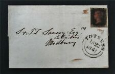 nystamps Great Britain Stamp Used Penny Black Jan 1841 Cover