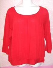 $49 FASHION BUG RED CINCH RIBBED KNIT BLOUSE 2X TOP PRO CLEANED GREAT CONDITION