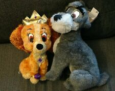 Lot of 2 Lady and the tramp dogs Stuffed Animal Disney Land Park World Doll