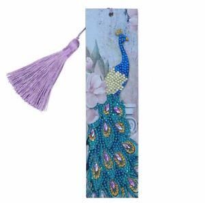 AU Seller - 5D Crystal Diamond Painting Peacock Bookmark Kit #4 - 21cms x 6cms
