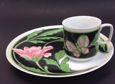 Neiman Marcus Japan Butterfly & Flower Pattern Sandwich Snack Set Cup and Plate