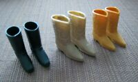 3 PAIRS VINTAGE BARBIE KEN DOLL BOOTS BLACK, BROWN & TAN SOFT SQUISY 1970'S NM