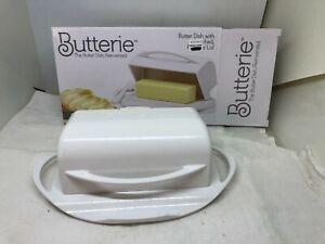 White Plastic Kitchen Concepts BUTTERIE™ BUTTER DISH Convenient Flip-Top Lid