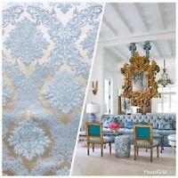 SALE Designer Brocade Damask Upholstery Decorating Fabric- Powder Blue