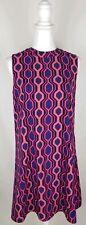 Julie Brown Size 6 Sleeveless Dress Navy Pink Orange Geometric Shift