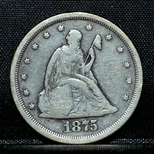1875-S 20 CENT PIECE ✪ VF VERY FINE DETAILS ✪ 20C SILVER CLEANED G91 ◢TRUSTED◣