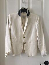Jcrew White Linen Schoolboy Blazer Grey Under Collar Size 0