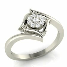 Demira Jewels Floral Promise Silver Diamond Ring