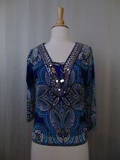 INC International Concepts Petite Embellished Paisley Print Peasant Top PP #2295
