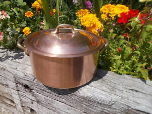 Beautiful Lined Stamped French Vintage Round Copper Stock Pan & Lid YR1/9