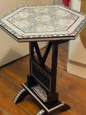 "Egyptian Handmade Wood End Table Inlaid Mother of Pearl (14"")"