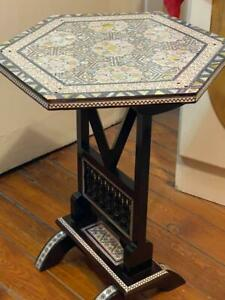 """Egyptian Handmade Wood End Table Inlaid Mother of Pearl (14"""")"""